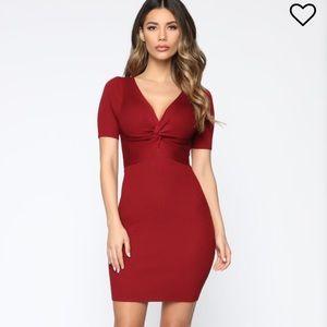 Fashion Nova wine red knot dress M